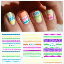 11Pcs Nail Art Water Decals Transfer Sticker Neon Wavy Stripes Plaid Decoration