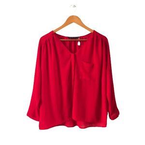 Zara Basic Women's Plain Red Tunic Blouses Size EUR (S)/ US (S) Long Sleeve EUC