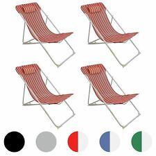 Metal Garden Deckchair Folding Adjustable Reclining, Red / White Stripe - x4