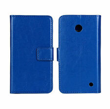 Blue Genuine Leather Wallet Card Case Cover Stand For Nokia Lumia 630/635 LTE 4G