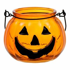 NEW - 2021 Glass Halloween Orange Pumpkin Jack-o-Lantern Candle Holder w/ Handle