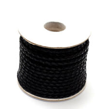 10.9yds/Roll Braided Cowhide Leather Cords Round Genuine Leather String 3mm DIA