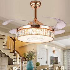 Crystal Ceiling Fan Light Chandelier Lamp LED Lighting Decor +Remote  Gold