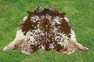 Cowhide Rugs Brown Leather Real Hair on Cow Hide Skin Area Rug 5 x 6 ft Medium