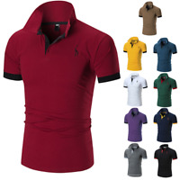 Men's Slim Fit Shirts Short Sleeve Casual Gol T-Shirt Jersey Tops Muscle Tee