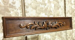 Scroll leaves carving pediment panl trim Antique french architectural salvage