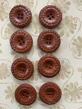 8 Lovely Tan Leather Round Buttons - As Per Picture