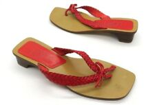 ANN TAYLOR LOFT Size 6 Red Braided Thong Block Kitten Heel Slide Sandals