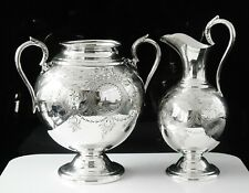 More details for large neo classical silver plated sugar & cream, john sherwood & sons c.1860