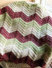 CROCHET handmade baby blanket afghan lap chevron ripple VANNA yarn pink green