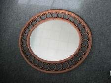 "Vintage MCM Rattan Design Oval Wall Mirror 26""x23""x 1"" Unique style Rattan Look"