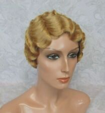 """Short 20""""s Finger Wave Strawberry Blonde Full Synthetic Cosplay Wig - 165"""