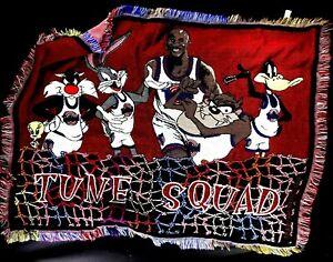 Vintage Black and Red Space Jam Tune Squad Michael Jordan Throw Rug Blanket