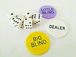 Little / Small Blind, Big Blind and Dealer Button Poker Lot 2 and 5 dice