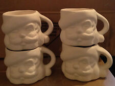 Alberta's Ceramic Bisque set of 4 Santa Cups Ready to Paint