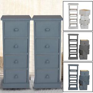 2pcs 4 Drawer Slim Tall Bedside Tables White Stone Grey Bedroom Storage Unit