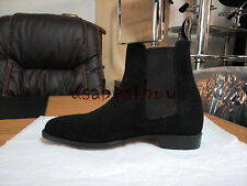 New Handmade Mens Black Latest Chelsea Suede Leather Boots with Leather Sole