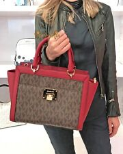 MICHAEL KORS TINA LARGE SATCHEL MK SIGNATURE PVC LEATHER BAG BROWN CHERRY