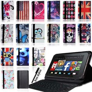 Leather Stand Cover Case+Bluetooth Keyboard For Amazon Fire 7 HD 8/8 plus HD10