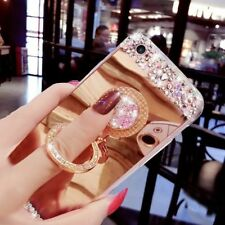Fashion Bling Diamond Crystal Kickstand Mirror Back Case Ring Holder Stand Cover
