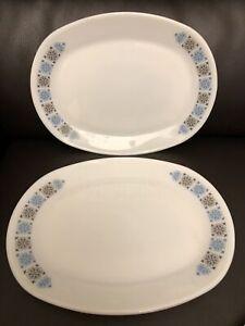 Vintage JAJ / PYREX Chelsea Pattern - Two Oval Steak Plates