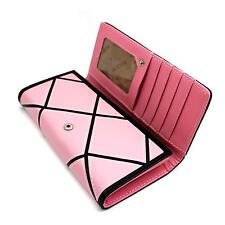 Pink Color PU Leather Card Coin Phone Long Purse Clutch HandBag Fashion Wallet