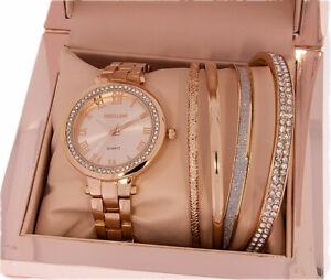 Schmuckset für Damen 5tlg. Farbe rosegold Uhr.Strass und 4 Armreifen Geschenkset