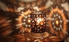 Small Table Lamp Stunning Bronze Moroccan Style Jeweled Cutwork Flower Brand New