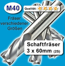 3mm Fräser L=60 Z=2 M40 Schaftfräser Metall Kunststoff Holz vergl. HSSE HSS-E
