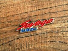"SUZUKI SAVAGE VEST PIN ~1-5/8""x 1/2"" LAPEL HAT BADGE BROCHE BIKER JACKET TIE TAC"