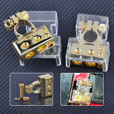 2pcs 12V Gold Car 2 4 8 Gauge Battery Positive Negative Terminal Connector Clamp
