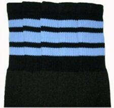 """25"""" KNEE HIGH BLACK tube socks with BABY BLUE stripes style 1 (25-32)"""