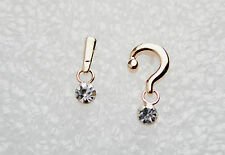 14K/14ct Rose Gold Plated ? & ! Mark Symbol Crystal Stud Earrings Butterfly Back
