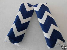Baby Seat Belt Strap Covers Car Highchair Stroller- Navy Minky Chevron MUST SEE