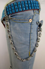 Men Women Silver Metal Long Motorcycle Jeans Wallet Key Chain Skulls Charm Biker