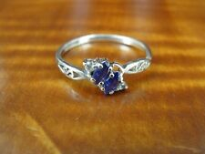 Sterling Silver 925 Ring Size 9 Purple and Clear Cubic Zirconia Stones Dainty
