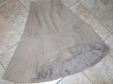 "Women's""PAUL ALEXANDER""Beige Flare Suede Leather Lined  Skirt size 8 Super Cute!"