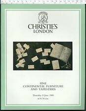 CHRISTIE'S Auction Catalogue FINE CONTINENTAL FURNITURE TAPESTRIES Jun 1989