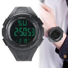 Herren Damen Datum Armbanduhr Wasserdicht LED Digital Silikon Schwarz Sportuhr