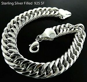 Necklace & Matching Bracelets Real 925 Sterling Silver Filled Solid Curb Chain