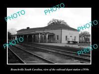 OLD HISTORIC PHOTO OF BRANCHVILLE SOUTH CAROLINA, RAILROAD DEPOT STATION c1950s