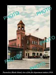 OLD 8x6 HISTORIC PHOTO OF PAWTUCKET RHODE ISLAND THE FIRE DEPT STATION c1910