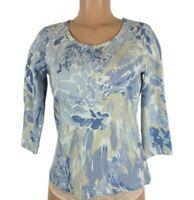 Style & Co Petite Women's Size PM Blue Beige Shirt 3/4 Sleeve Classic Neckline