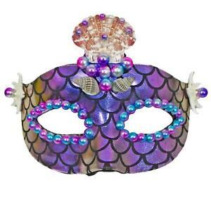 Adult Mermaid Masquerade Halloween Costume Eye Face Mask Purple Shells Scales