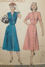 Vintage 1950s Butterick 6110 Side Sweep Button Dress Pattern 34B sz 16