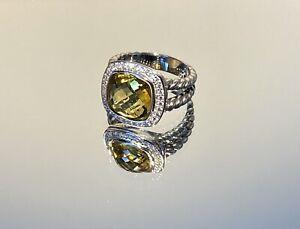 David Yurman 11mm Lemon Citrine and Diamond Albion Ring