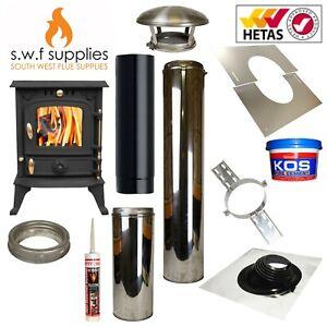 JA013S 5.5kw Cast Woodburner Multi Fuel Stove & Shed/Summerhouse Flue Kit