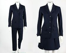 Vtg 60s Jax Rudi Gernreich 3Pc Navy Wool Blazer Pleated Skirt Pants Suit S Rare