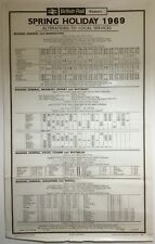 More details for large vintage british rail station timetable poster 25 x 40