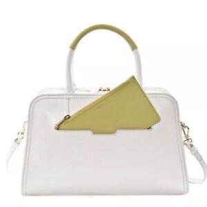 ⭐️New FURLA White Lime Green Saffiano Leather Summer Purse HandBag With Clutch